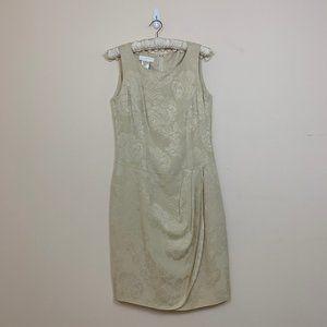 Vintage Escada Cream Textured Floral Silk Dress